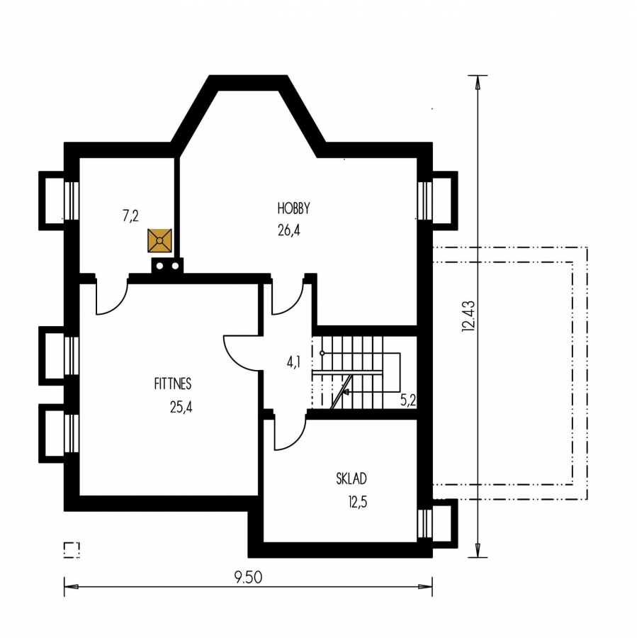 Pôdorys Suterénu - Podkrovný dom so suterénom a garážou, vhodný aj ako dvojdom.