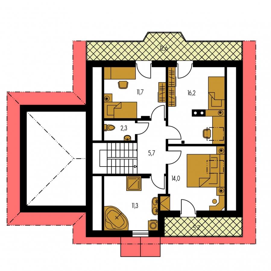 Pôdorys Poschodia - Podkrovný dom so suterénom a garážou, vhodný aj ako dvojdom.