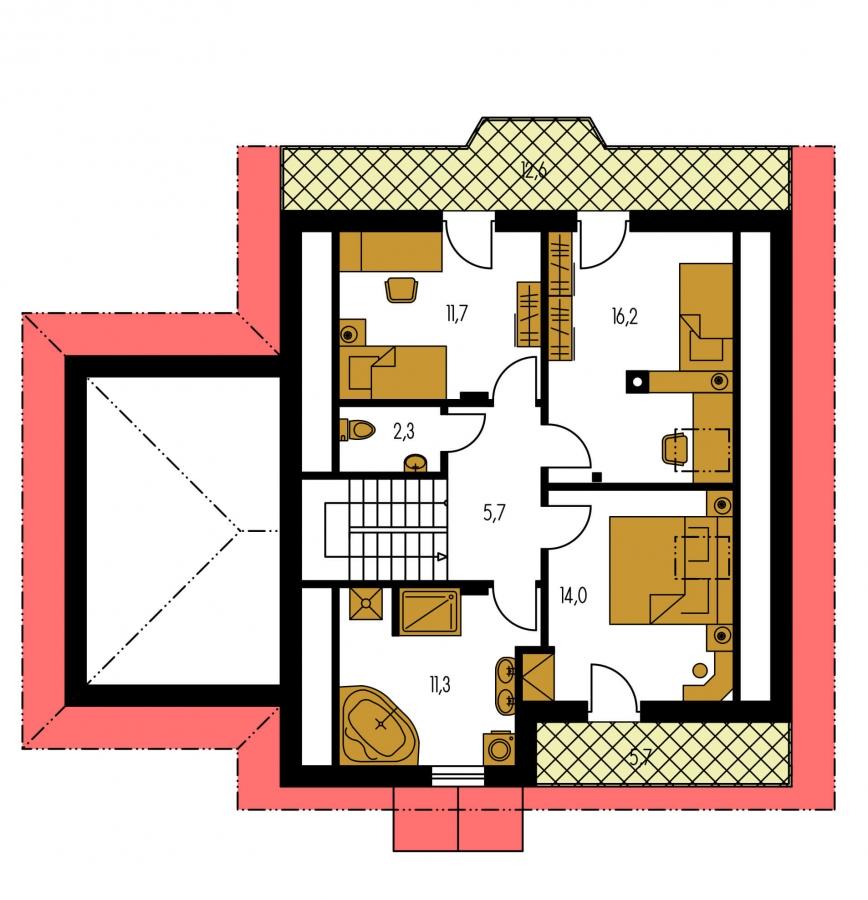 Pôdorys Poschodia - Podkrovný dom s garážou, vhodný aj ako dvojdom pri spojení garážami.