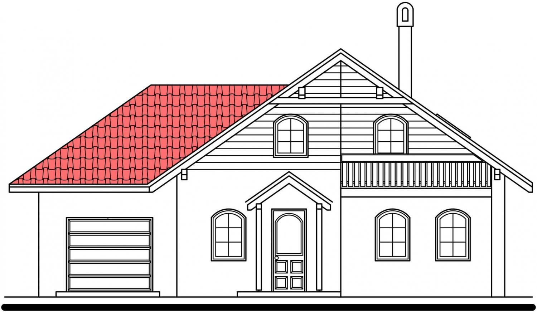 Pohľad 1. - Podkrovný dom s garážou, vhodný aj ako dvojdom pri spojení garážami.