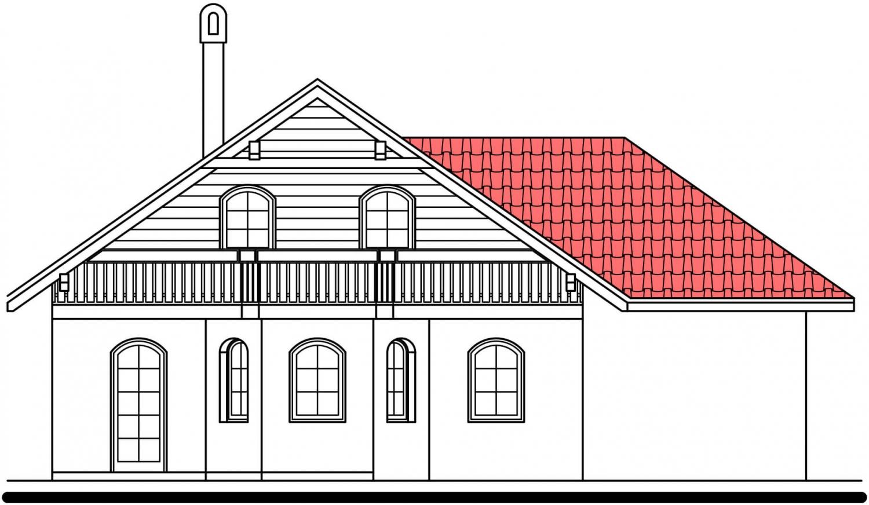 Pohľad 3. - Podkrovný dom s garážou, vhodný aj ako dvojdom pri spojení garážami.