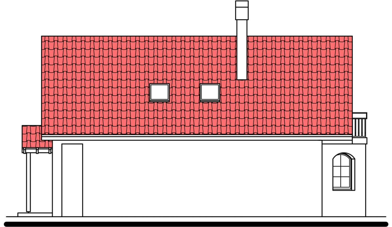 Pohľad 4. - Podkrovný dom s garážou, vhodný aj ako dvojdom pri spojení garážami.