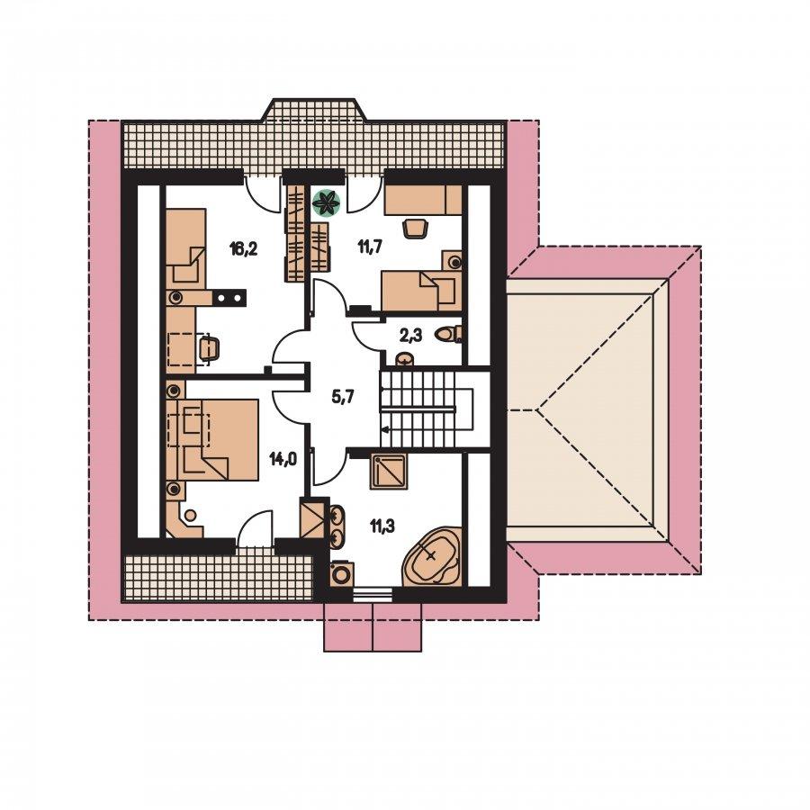 Pôdorys Poschodia - Podkrovný dom s garážou, vhodný ako dvojdom