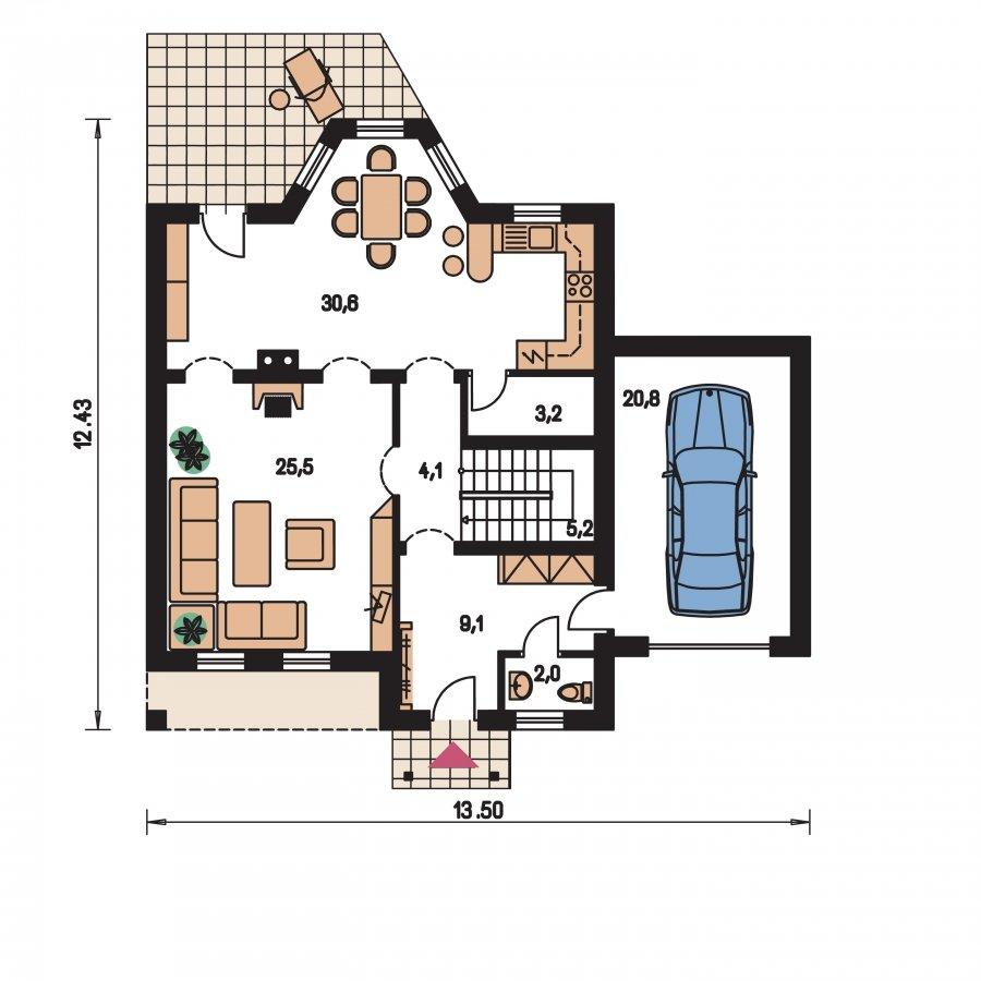 Pôdorys Prízemia - Podkrovný dom s garážou, vhodný ako dvojdom