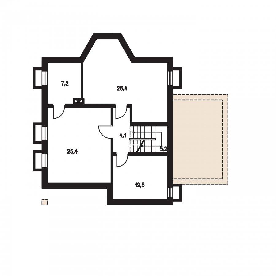 Pôdorys Suterénu - Podkrovný dom s garážou, vhodný ako dvojdom