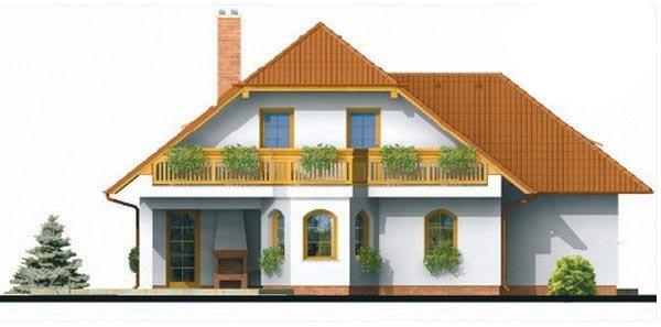 Pohľad 1. - Klasický projekt domu s podkrovím a terasou.