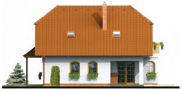 Pohľad 2. - Klasický projekt domu s podkrovím a terasou.