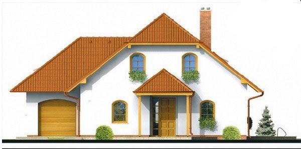 Pohľad 3. - Klasický projekt domu s podkrovím a terasou.