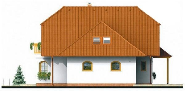 Pohľad 4. - Klasický projekt domu s podkrovím a terasou.