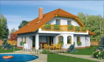 KLasický projekt domu s podkrovím a terasou