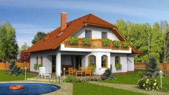 Klasický projekt domu s podkrovím a terasou.