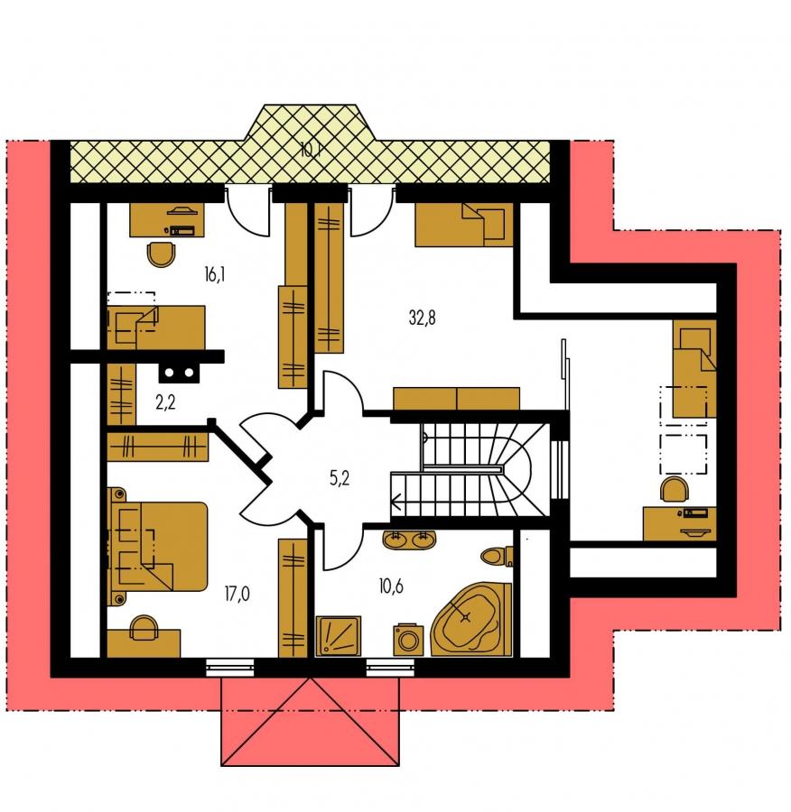 Pôdorys Poschodia - Klasický projekt domu s podkrovím a terasou.