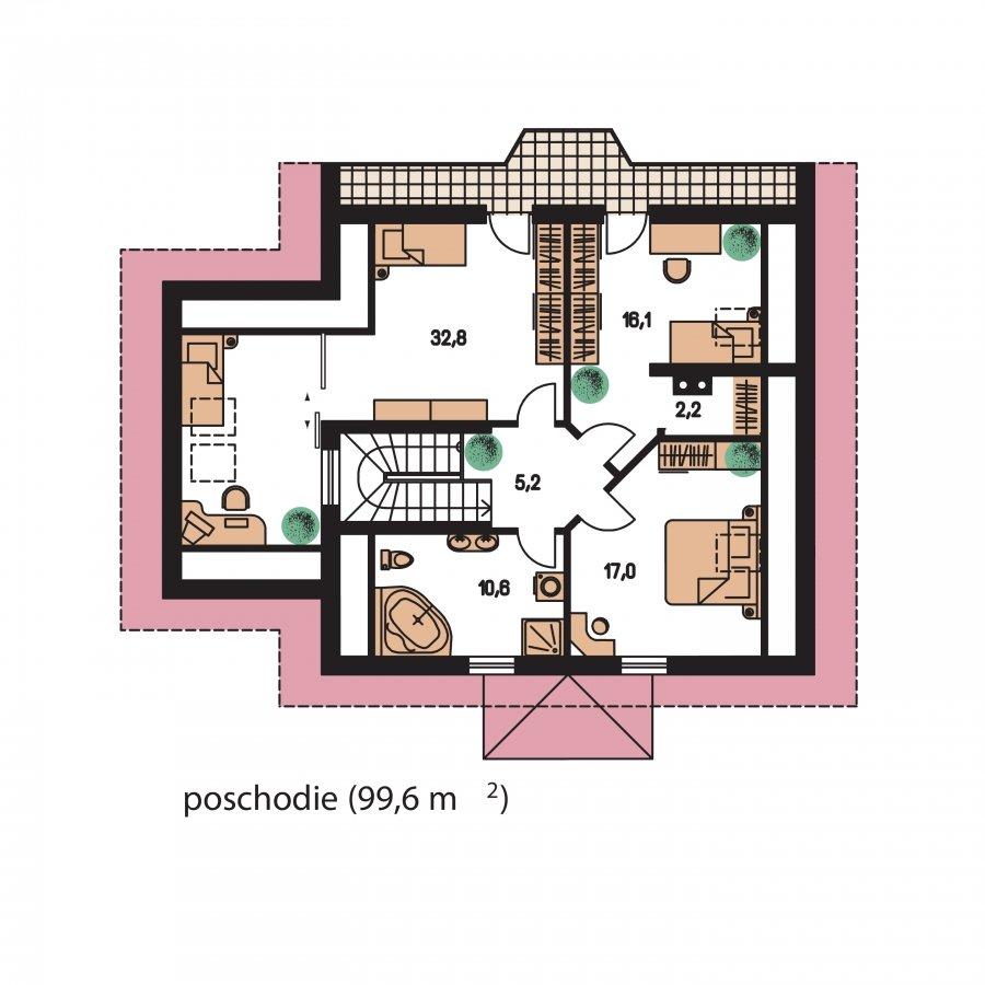 Pôdorys Poschodia - KLasický projekt domu s podkrovím a terasou