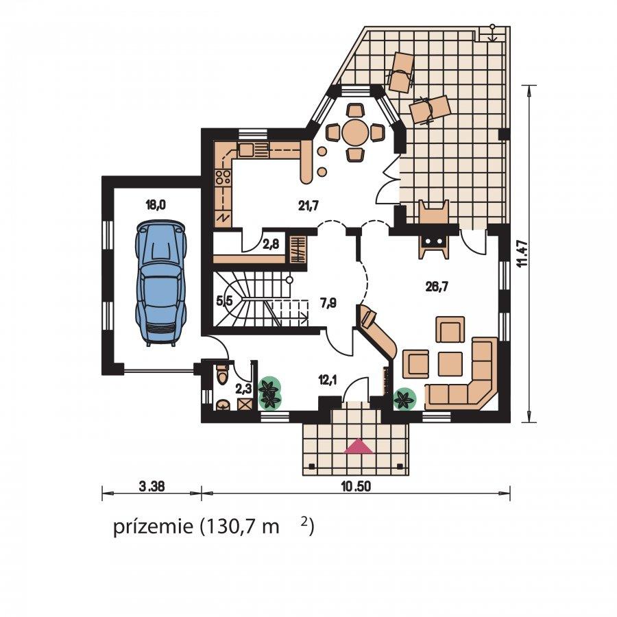 Pôdorys Prízemia - KLasický projekt domu s podkrovím a terasou