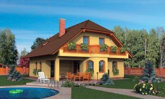 Klasický dom so suterénom, apsidou a terasou.