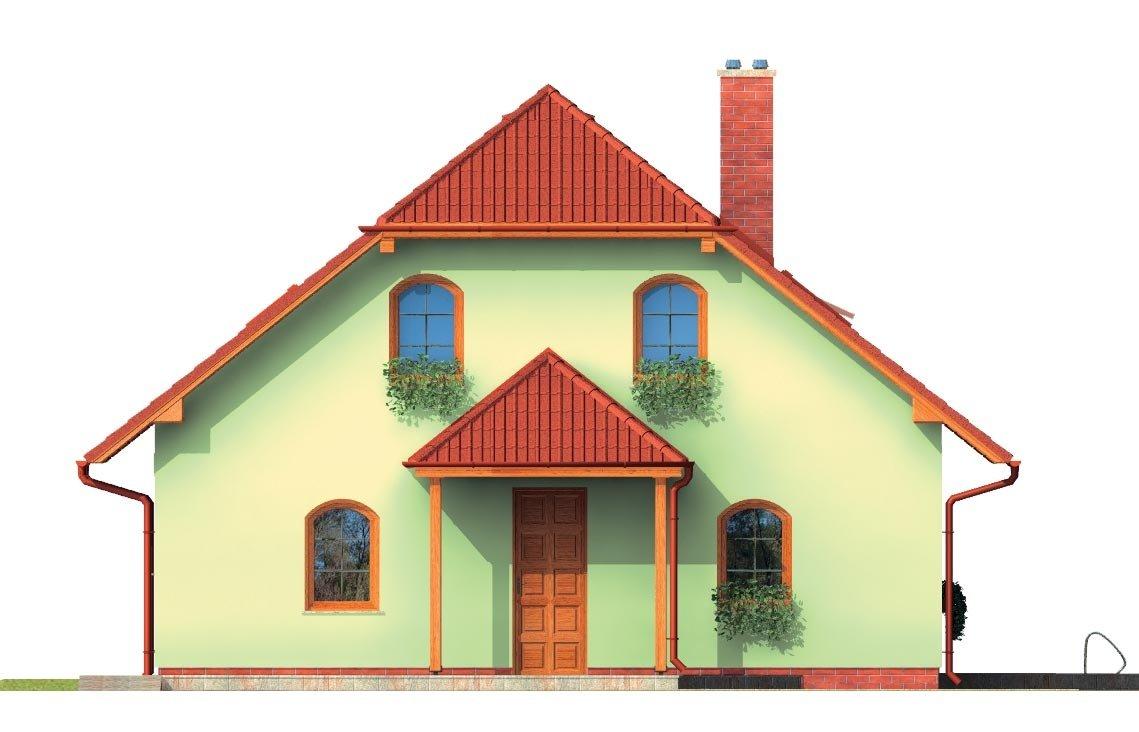 Pohľad 1. - Klasický dom s apsidou a terasou.