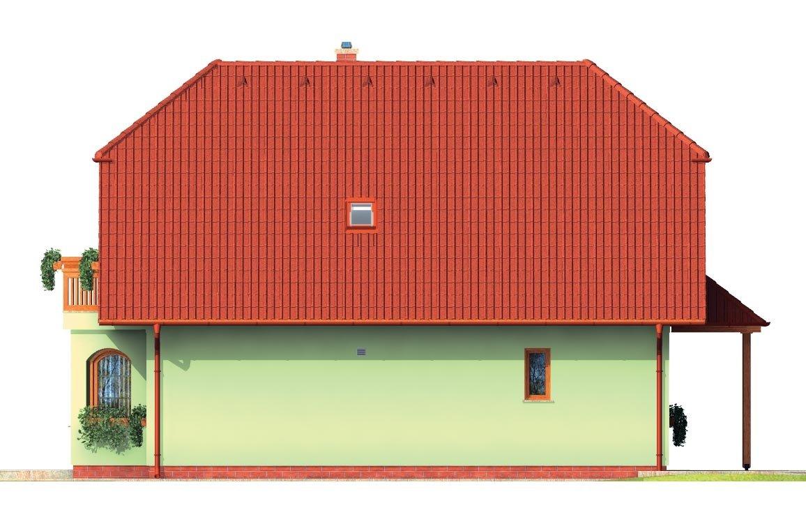 Pohľad 2. - Klasický dom s apsidou a terasou.