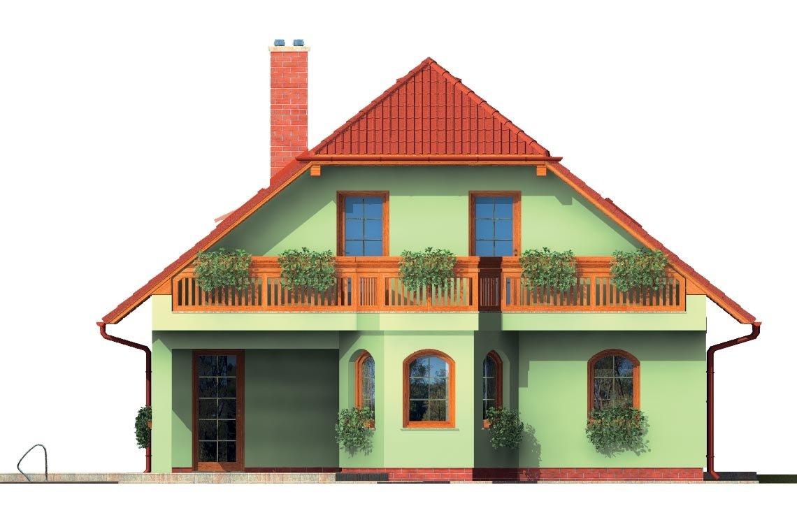 Pohľad 3. - Klasický dom s apsidou a terasou.