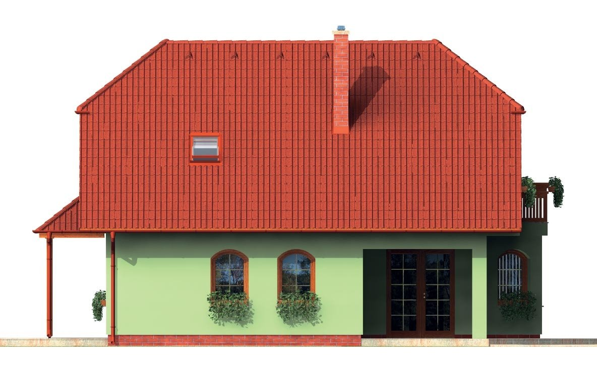 Pohľad 4. - Klasický dom s apsidou a terasou.