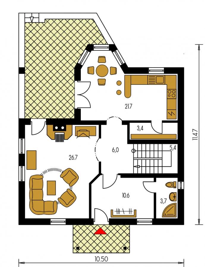 Pôdorys Prízemia - Klasický dom so suterénom, apsidou a terasou.