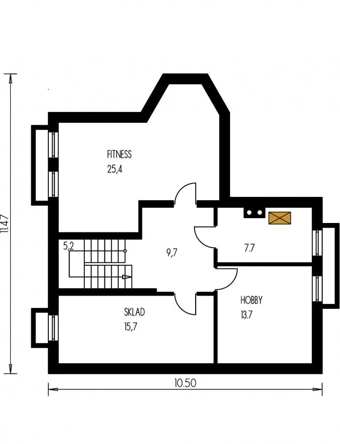 Pôdorys Suterénu - Klasický dom so suterénom, apsidou a terasou.
