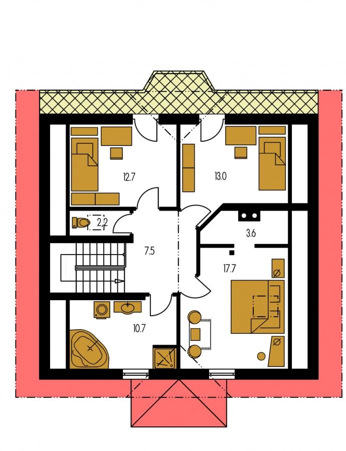 Pôdorys Poschodia - Klasický dom so suterénom, apsidou a terasou.