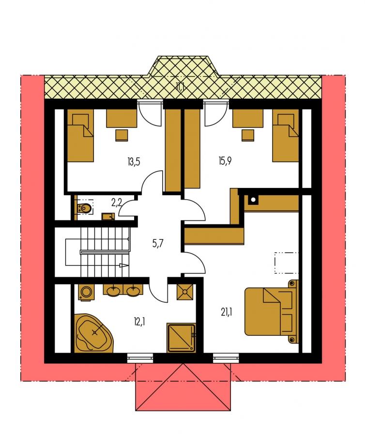 Pôdorys Poschodia - Klasický dom s apsidou a terasou.