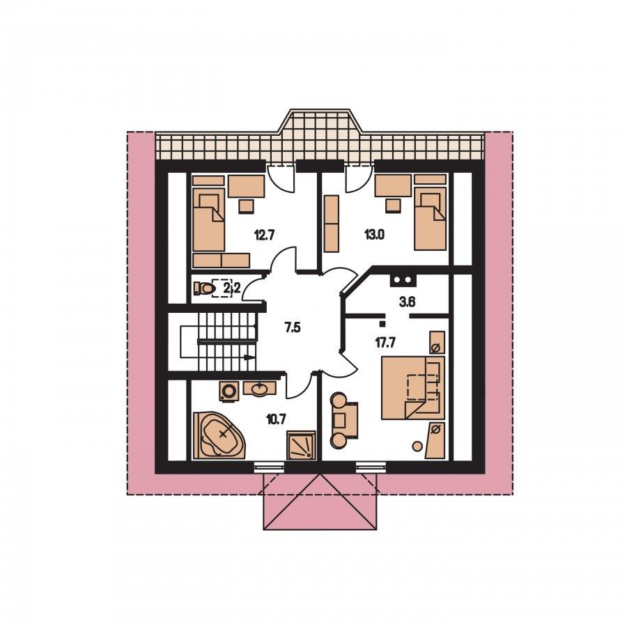 Pôdorys Poschodia - Klasický podkrovný dom s apsidou a terasou