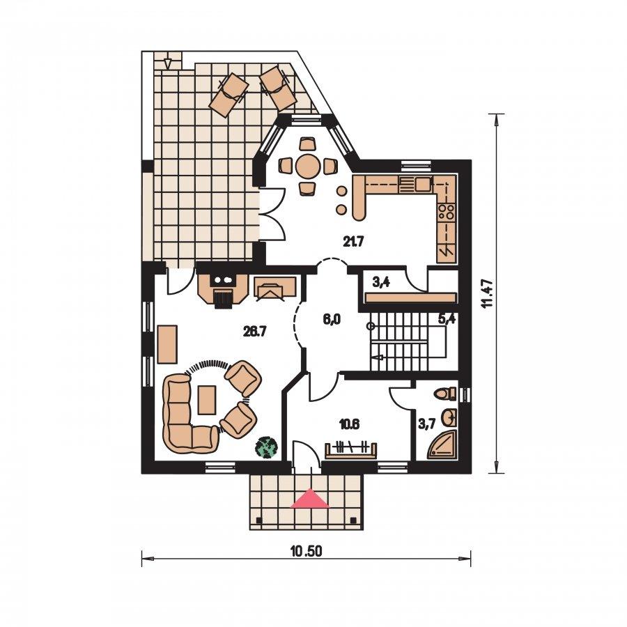 Pôdorys Prízemia - Klasický podkrovný dom s apsidou a terasou