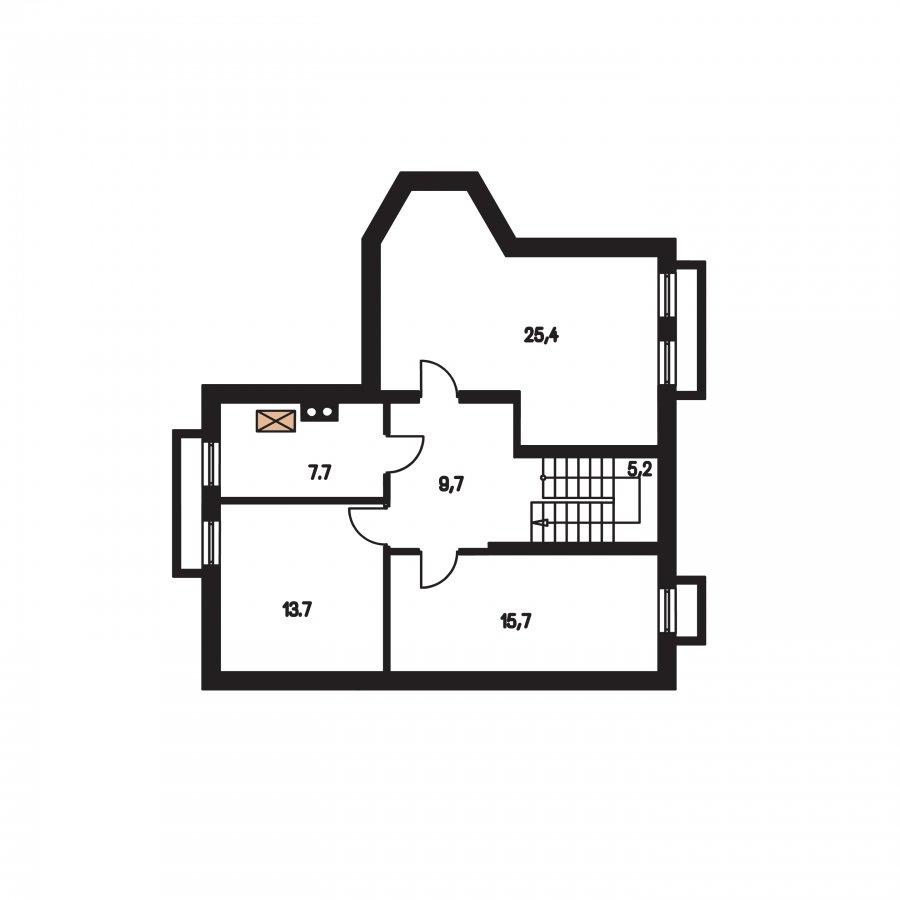 Pôdorys Suterénu - Klasický podkrovný dom s apsidou a terasou