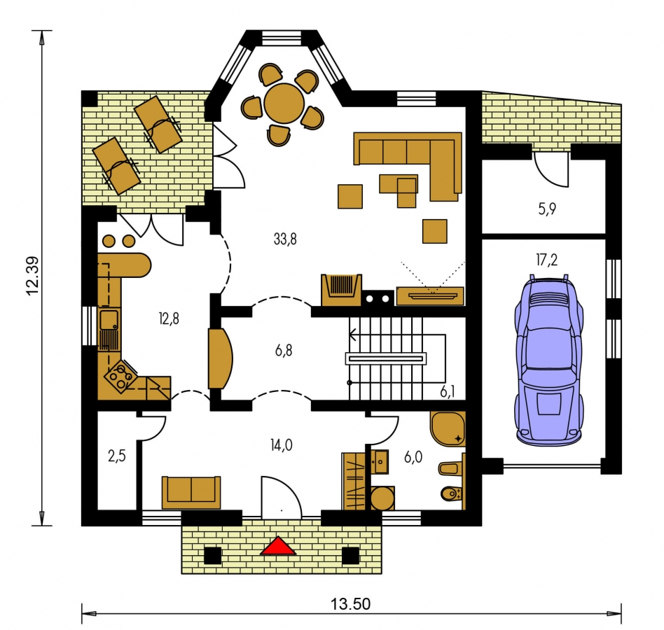 Pôdorys Prízemia - Dom s garážou a rozľahlým suterénom, vhodný ako dvojdom