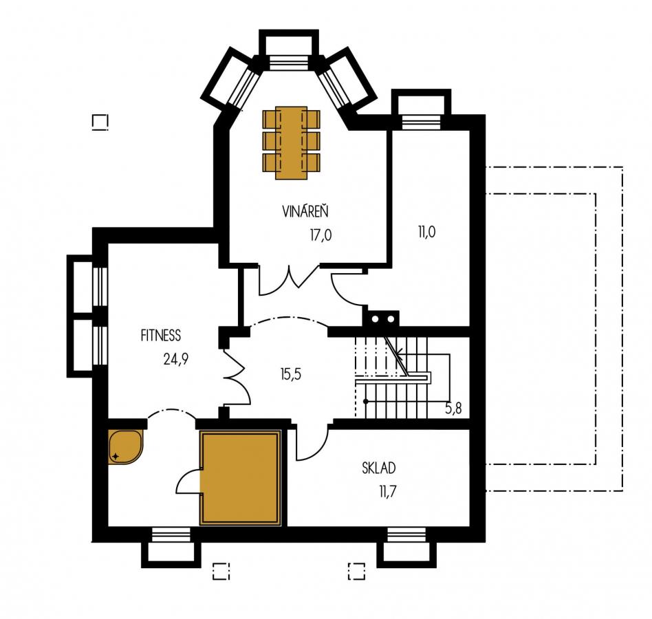 Pôdorys Suterénu - Dom s garážou a rozľahlým suterénom, vhodný ako dvojdom