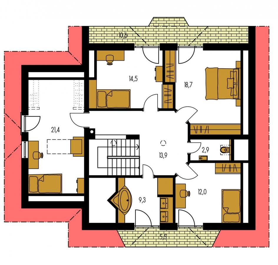 Pôdorys Poschodia - Dom s garážou, vhodný ako dvojdom.