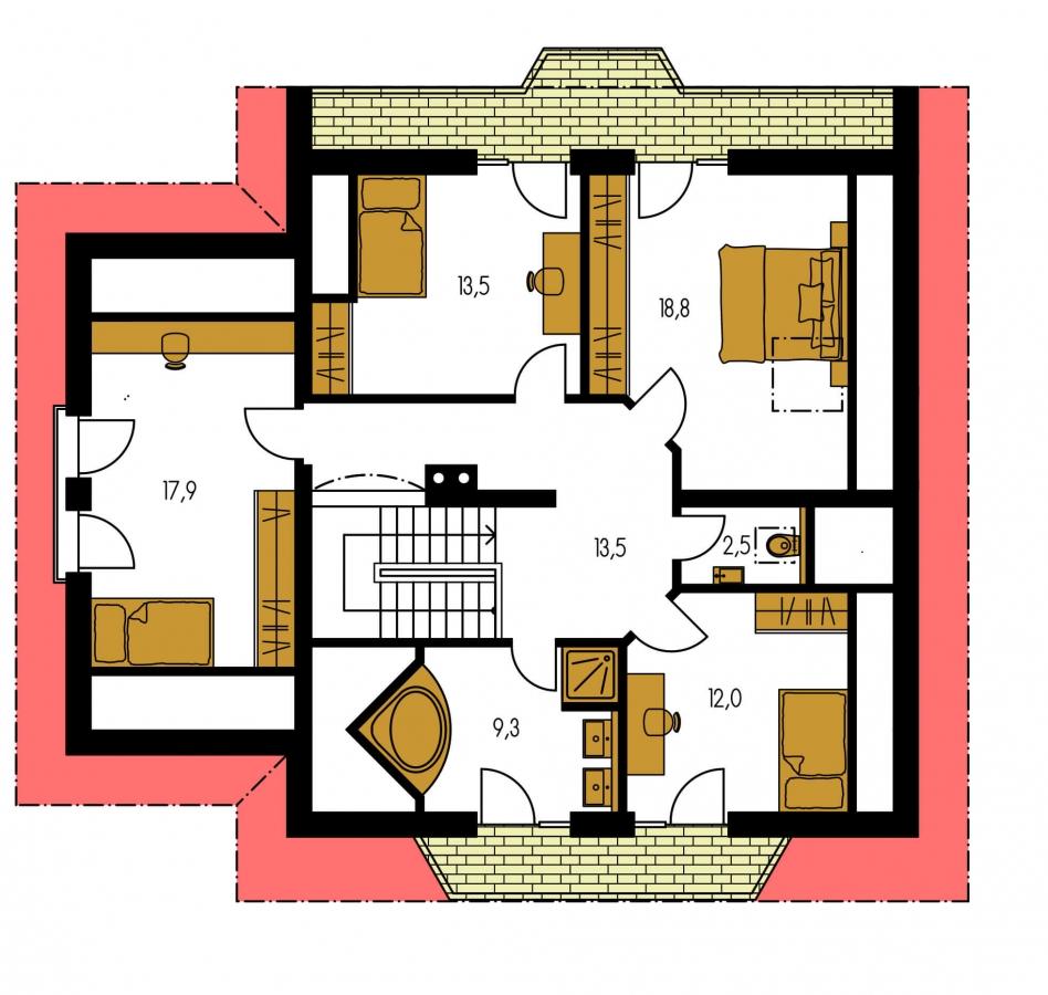 Pôdorys Poschodia - Dom s garážou a rozľahlým suterénom, vhodný ako dvojdom