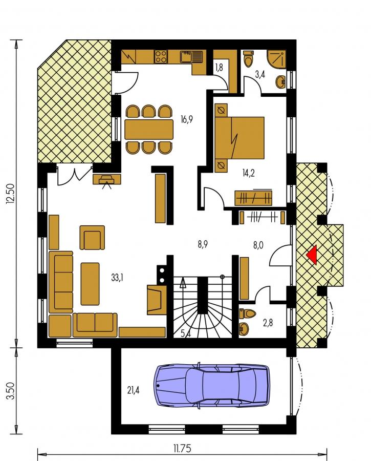 Pôdorys Prízemia - Elegantný veľký dom so suterénom, vhodný ako dvojdom