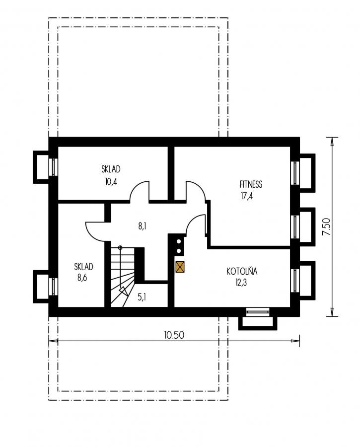 Pôdorys Suterénu - Elegantný veľký dom so suterénom, vhodný ako dvojdom