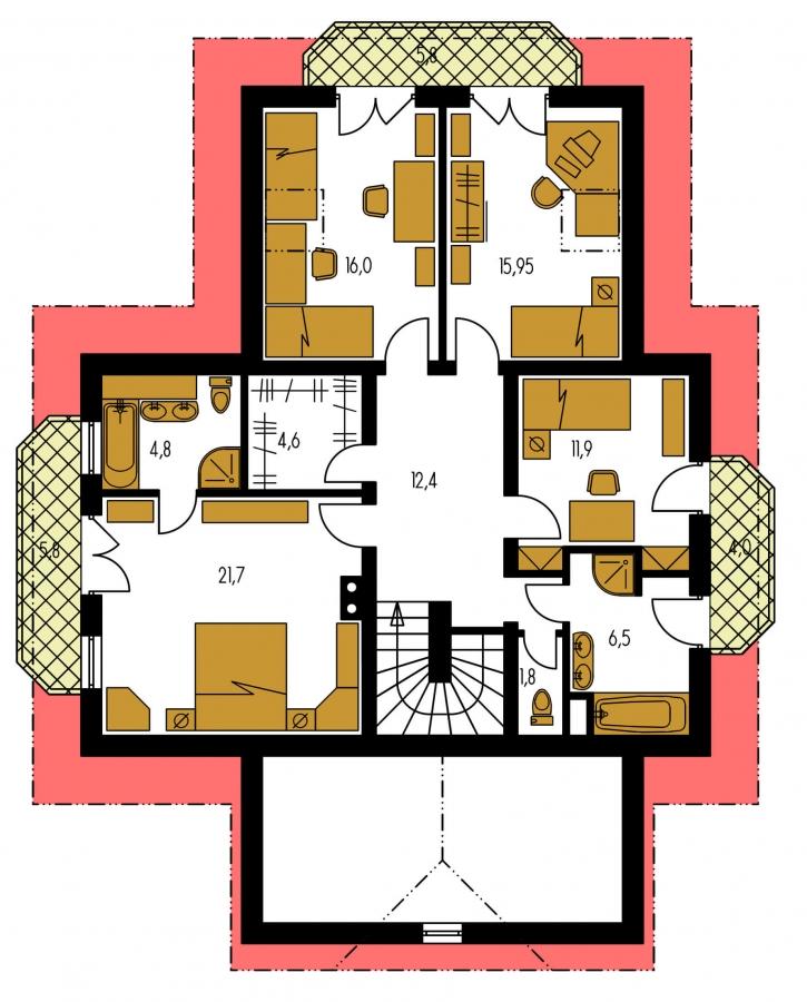 Pôdorys Poschodia - Elegantný veľký dom so suterénom, vhodný ako dvojdom