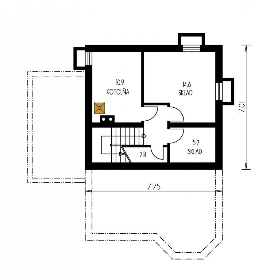 Pôdorys Suterénu - Projekt domu na úzky pozemok so suterénom