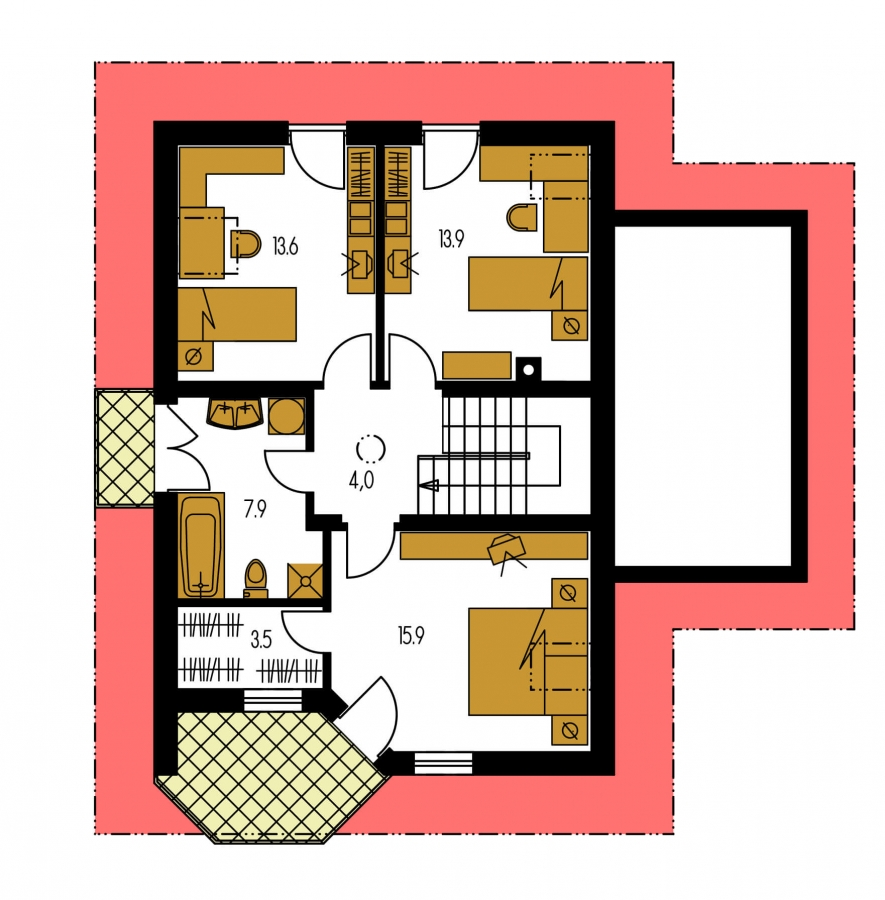 Pôdorys Poschodia - Projekt domu na úzky pozemok. Možné postaviť aj bez garáže.