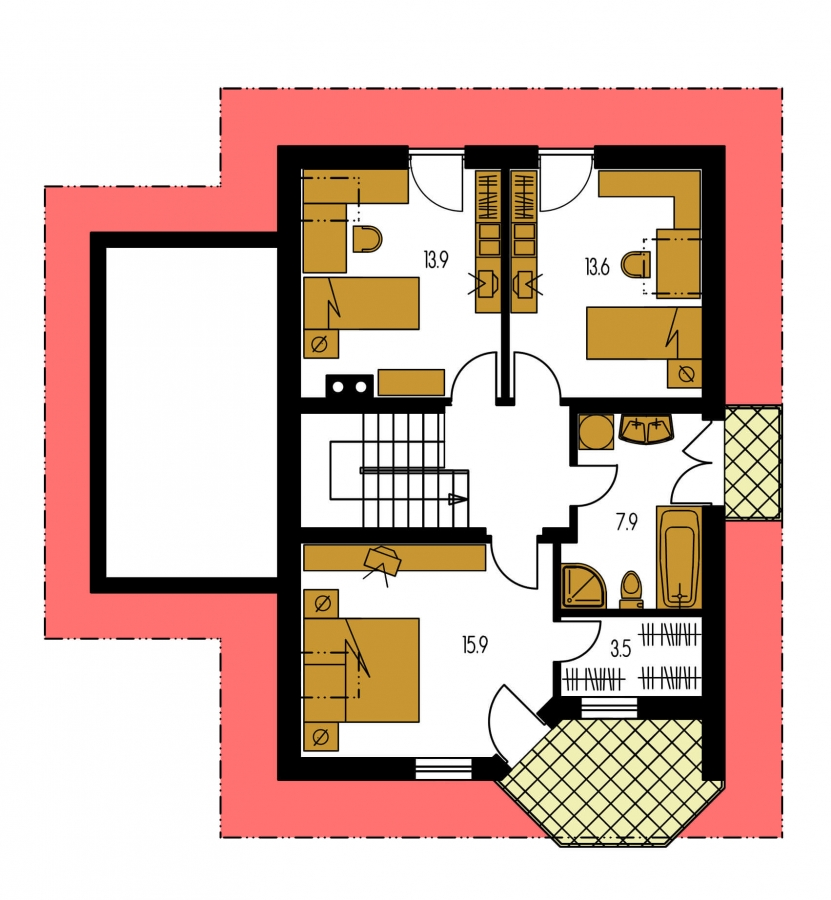 Pôdorys Poschodia - Projekt domu na úzky pozemok so suterénom.