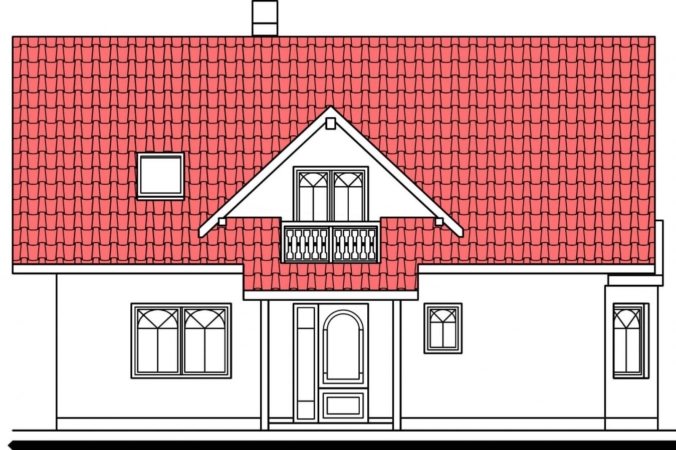 Pohľad 1. - Projekt domu na úzky pozemok so suterénom.