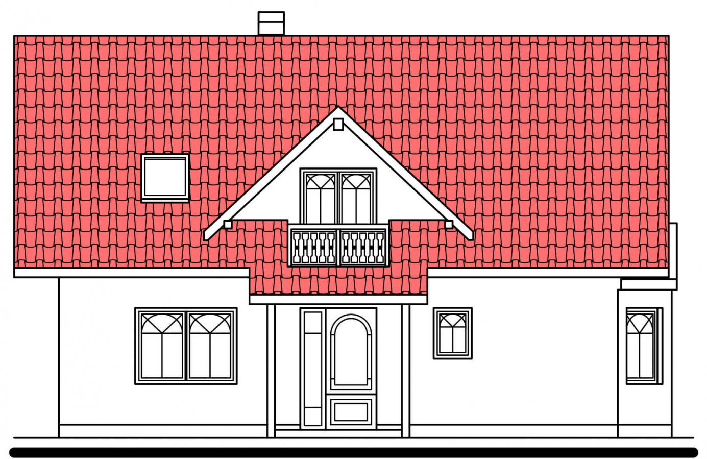 Pohľad 1. - Projekt domu na úzky pozemok. Možné postaviť aj bez garáže.