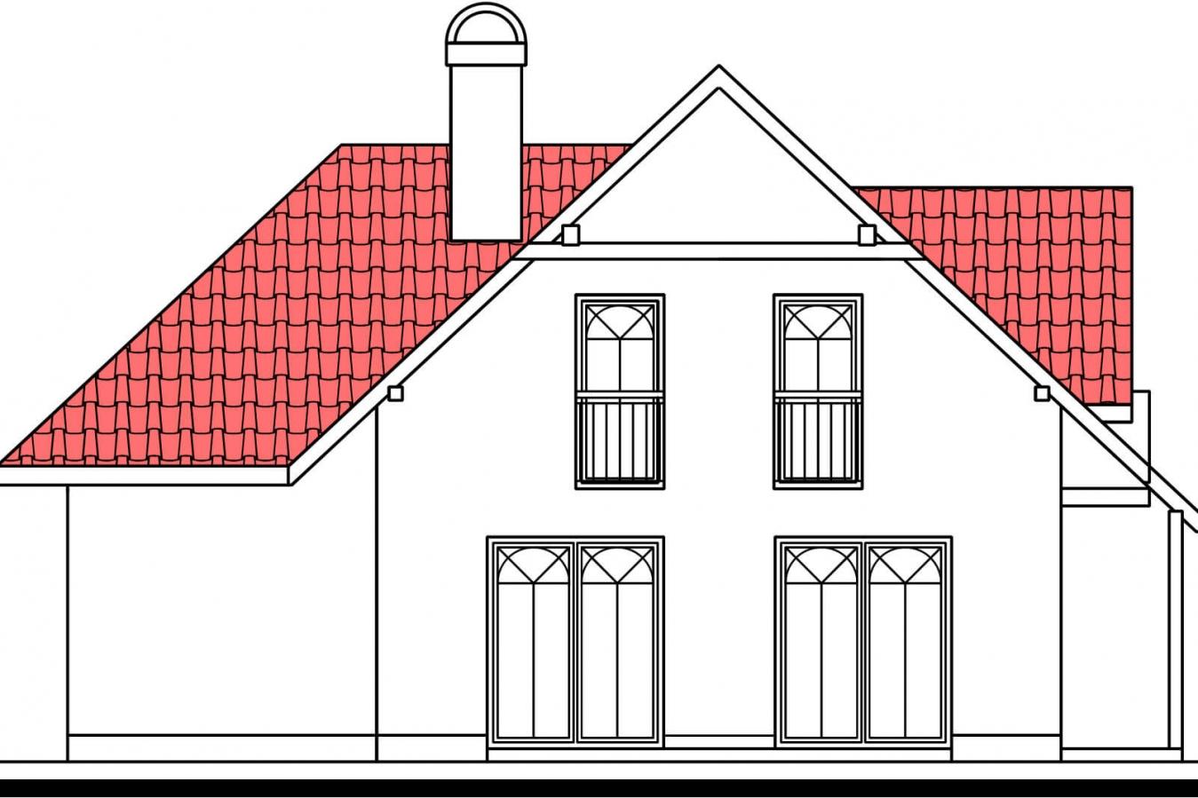 Pohľad 2. - Projekt domu na úzky pozemok so suterénom.