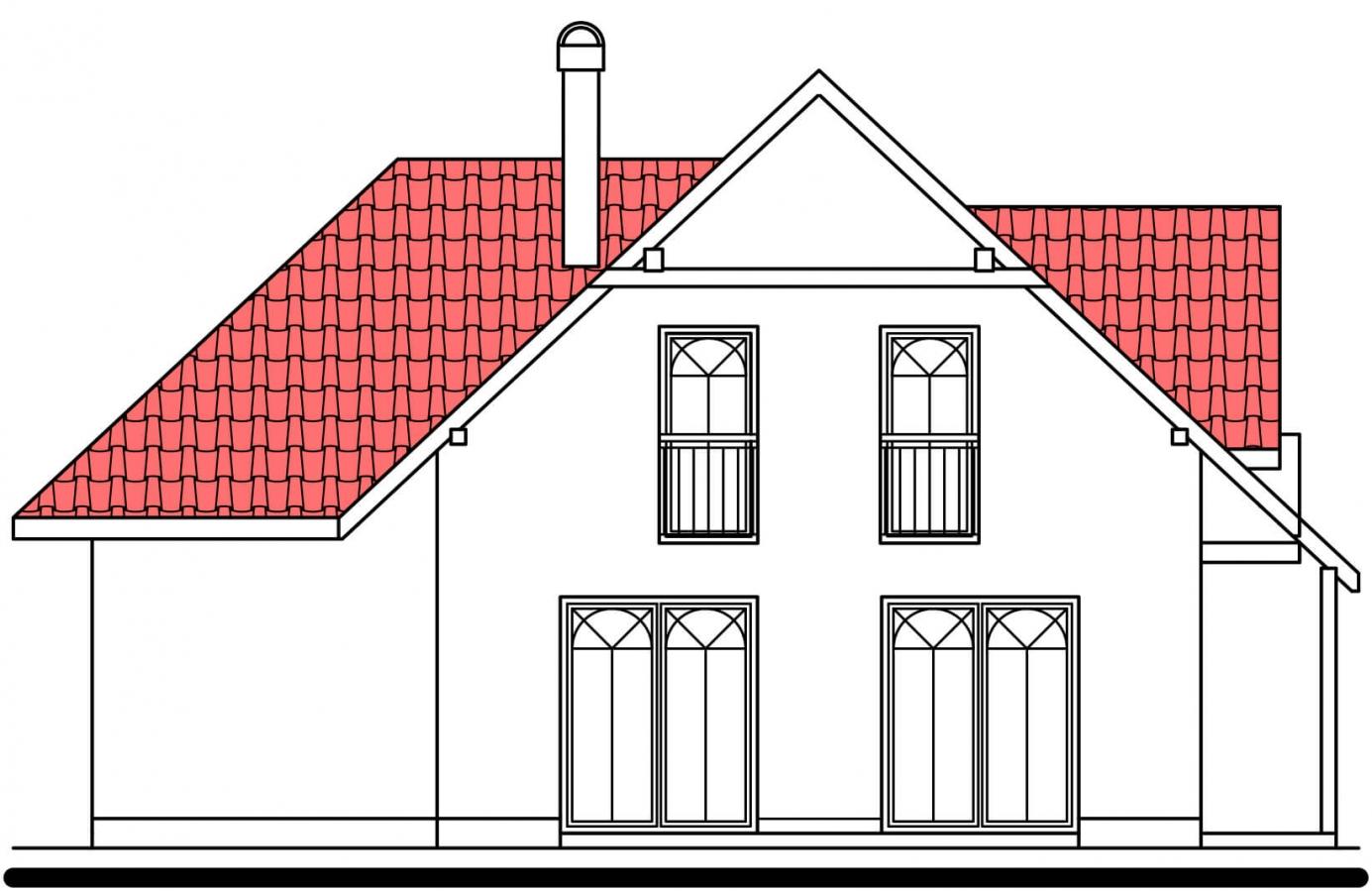 Pohľad 2. - Projekt domu na úzky pozemok. Možné postaviť aj bez garáže.