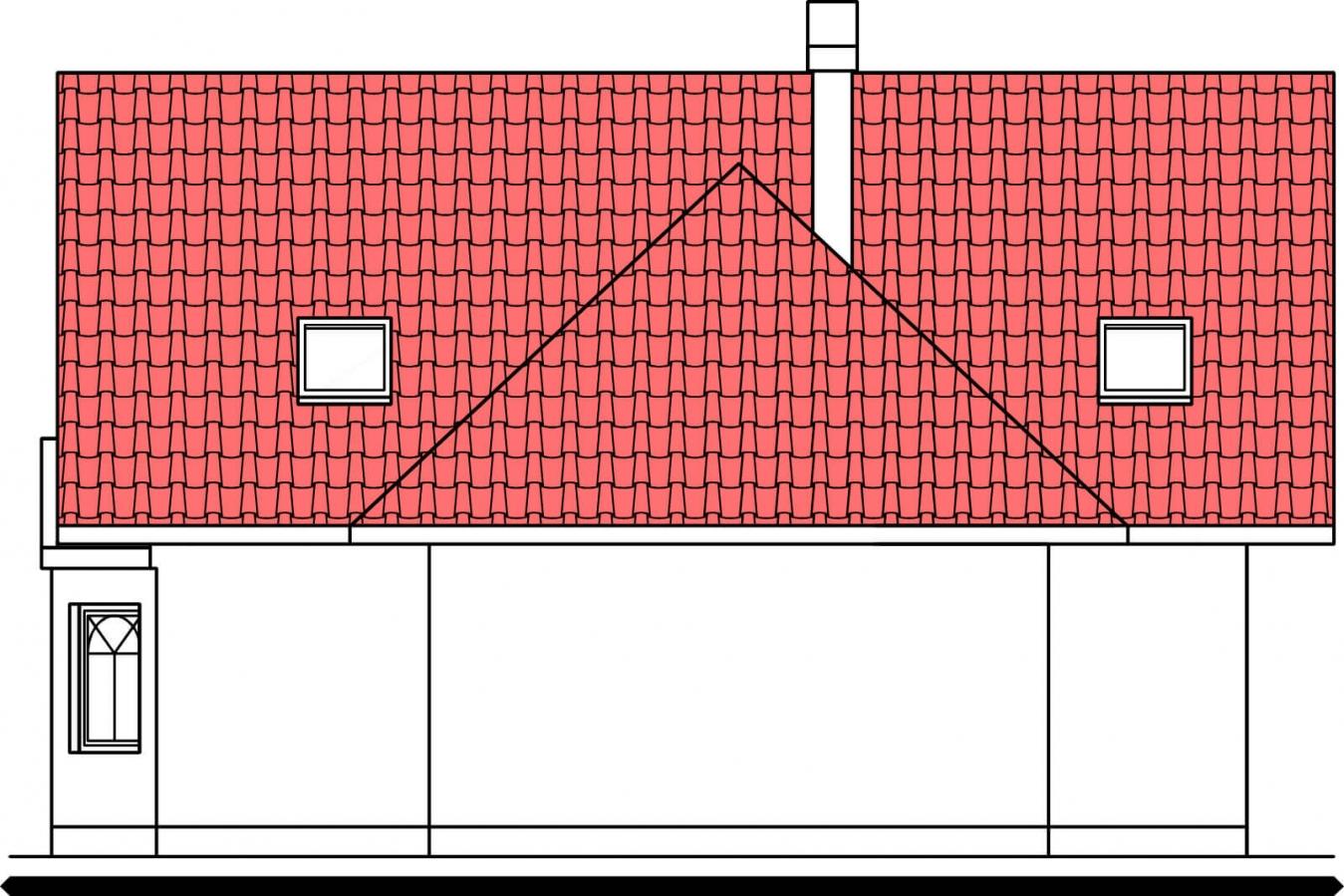 Pohľad 3. - Projekt domu na úzky pozemok so suterénom.