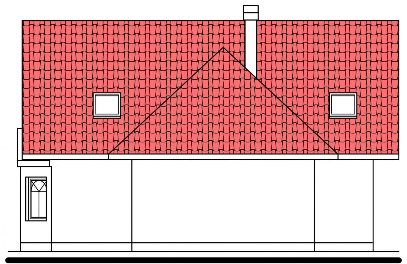 Pohľad 3. - Projekt domu na úzky pozemok. Možné postaviť aj bez garáže.