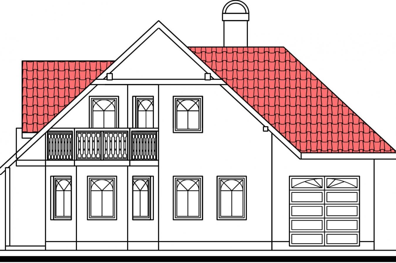 Pohľad 4. - Projekt domu na úzky pozemok so suterénom.