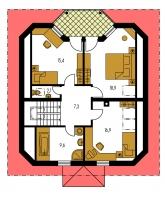 Zrkadlový obraz   Pôdorys poschodia - KLASSIK 130