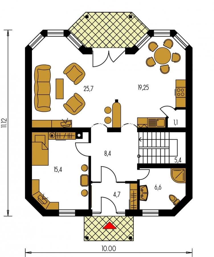 Pôdorys Prízemia - Klasický rodinný dom s izbou na prízemí.