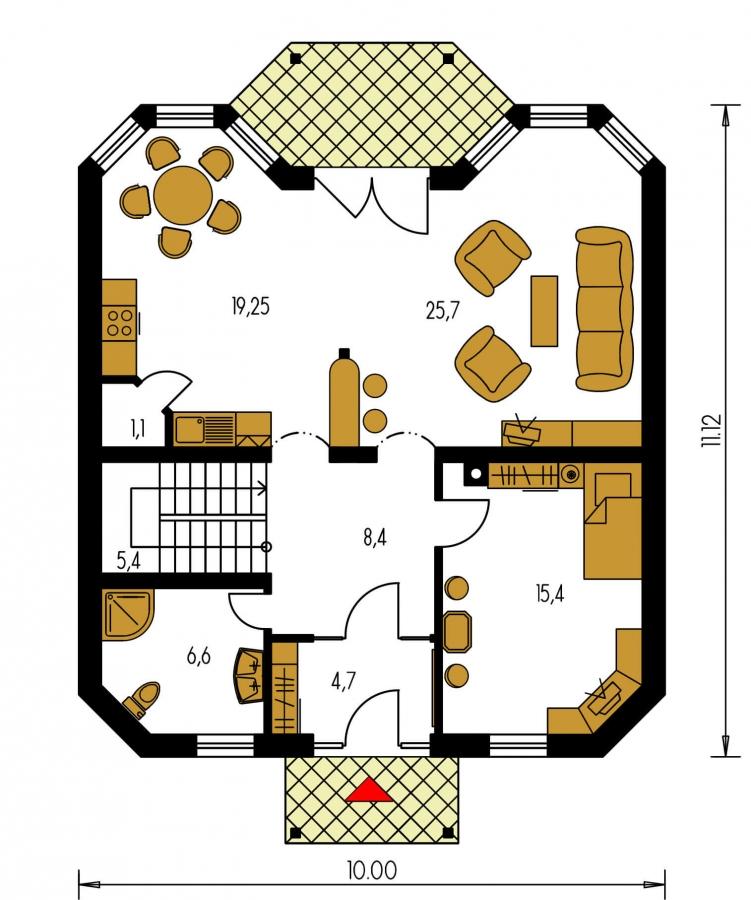 Pôdorys Prízemia - Klasický rodinný dom so suterénom a izbou na prízemí.